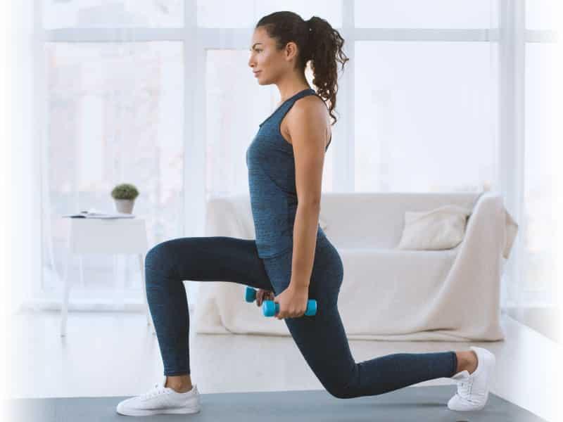 woman exercising inside