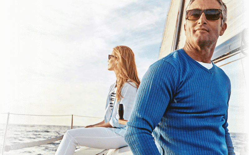 Man and woman with sunglasses on on a boat